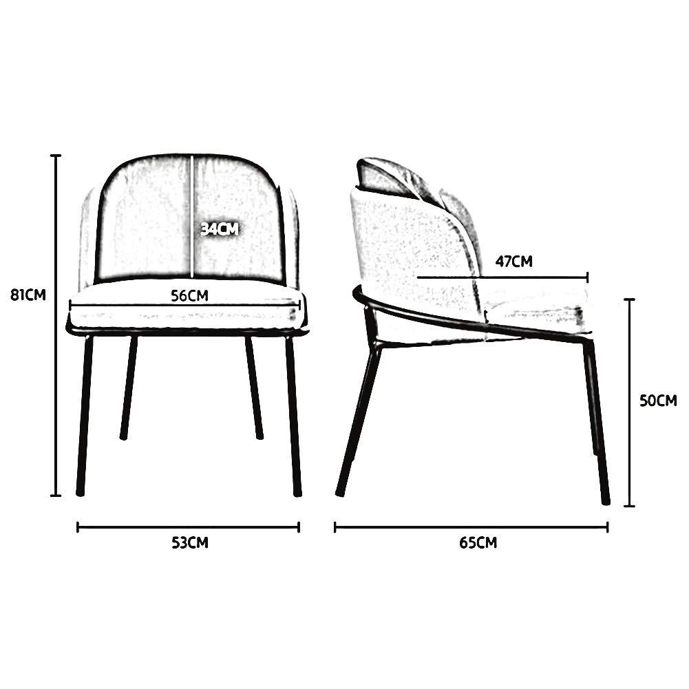 DALL Soffstolar stoppade nordiska fritidsryggstöd matstolar metallben datorbord stol montering 53 x 65 x 81 cm (färg: Grön) Brun