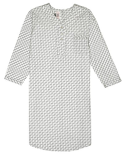 Men's Comfortable Cotton/Poly Back Snap Nightshirt Gown Long Sleeve Size XXL - Black & White Plaids]()