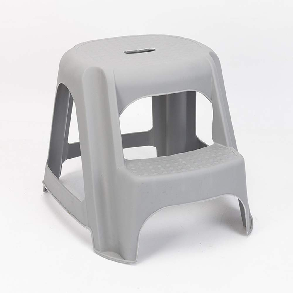 Children's Double Bath Step Stool Multifunctional Baby Anti-Slip Foot Plastic Stool (Color : Gray)