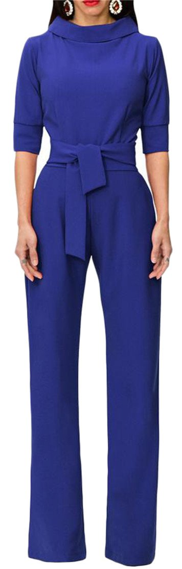 Pivaconis Women's Belt Pocket Wide Leg 3/4 Sleeve Rompers Loose Jumpsuits Jewelry Blue XL