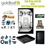 Complete 5 x 5 Grow Tent Kit w/ 1000W HPS & 4 x 4 Flood Drain Hydroponics System from Goldleaf Hydroponics