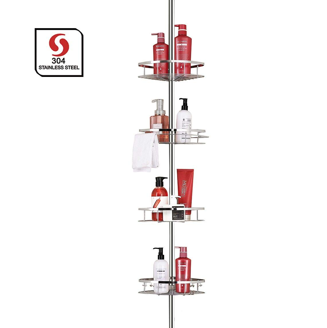 SeiriOne Bathroom Shelf, Tension Shower Pole Corner Caddy, Rustproof 304 Stainless Steel, 4 Tier Adjustable Baskets, Height Adjustable 4.7 to 9.3ft by SeiriOne