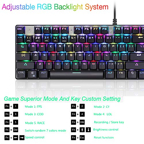 Amazon.com: Original Motospeed CK888 Mechanical Gaming Keyboard and Mouse Combo-NKRO Blue Switch 104 Key: Computers & Accessories