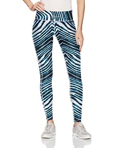 Zubaz Unisex Casual Printed Athletic Lounge Leggings, Black/Electric Blue, M -