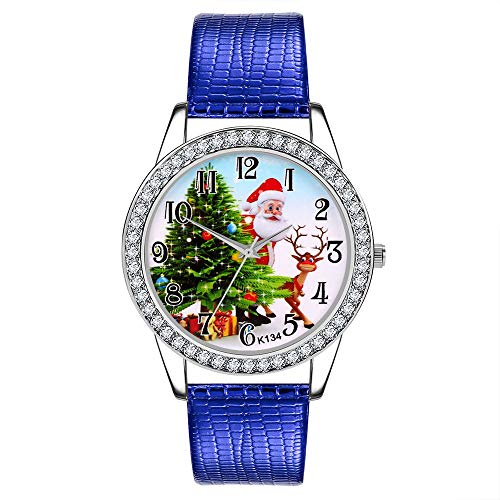 Price comparison product image Christmas Watch Women Diamond Leather Band Wrist Watch, Outsta Analog Quartz Vogue Wrist Watches for Children Gift Present (Blue)