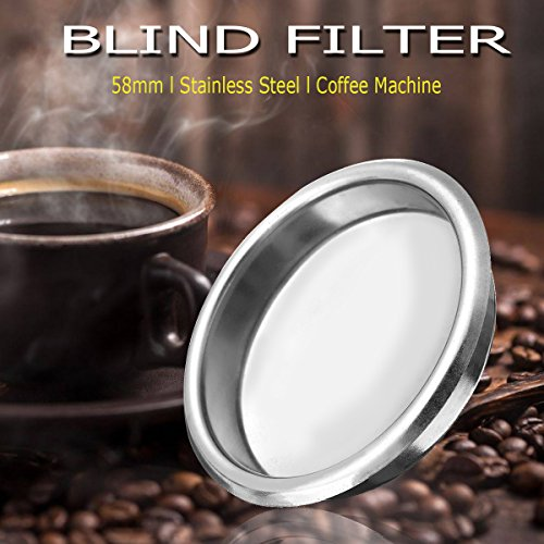 (HAPYLY 58mm Metal Blind Filter for Espresso Coffee Machine Maker Back Flush Insert Basket)