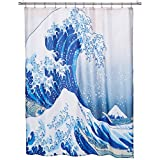 The Great Wave Off Kanagawa Pattern Customize Waterproof Polyester Fabric Bathroom Shower Curtain 66*72 Inch