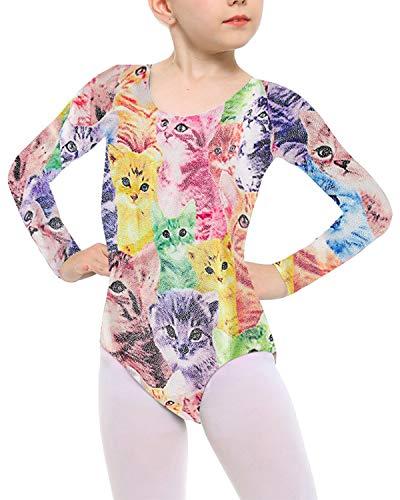 Long Sleeve Leotards for Toddler Girls Kid Dance Ballet Tumbling Outfits Children's Target Gymnastics Size 7-8 Years Old Animal Cat Adorable Print Unitard
