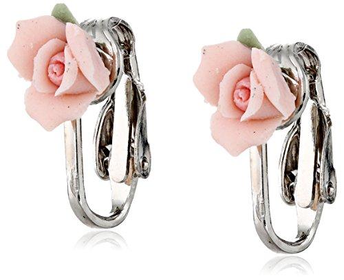 Porcelain Clip Earrings (1928 Bridal Pink Porcelain Rose Clip Earrings)