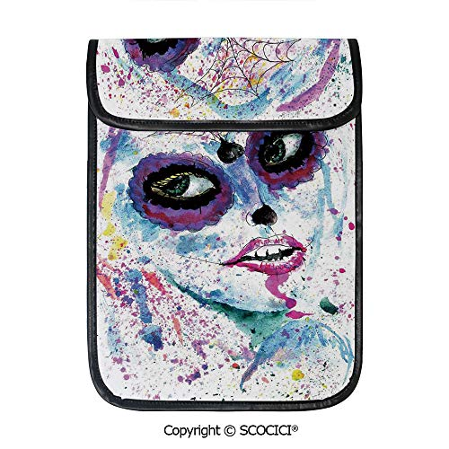 SCOCICI Simple Protective Grunge Halloween Lady with Sugar Skull Make Up Creepy Dead Face Gothic Woman Artsy Pouch Bag Sleeve Case Cover for 12.9 inches Tablets]()