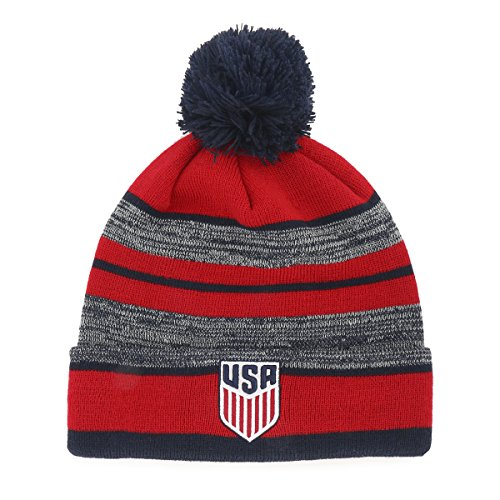 World Soccer Football Cap Hat - World Cup Soccer United States Huset OTS Cuff Knit Cap with Pom, One Size, Navy