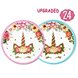 Sturdy Unicorn PlatesSet 24-Pack,7 Inch for a First Birthday Party, Unicorn Party, Baby Shower (Pink and Blue)