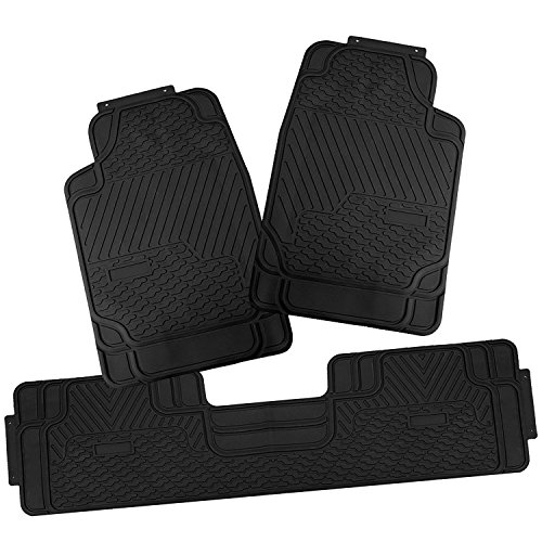 All Weather Heavy Duty Rubber - Heavy Duty Durable Rubber Car Floor Mats Auto Floor Liner All Weather 3 PCS Universal Trim-to-Fit for Jeep SUV Van Truck Black (black-1)