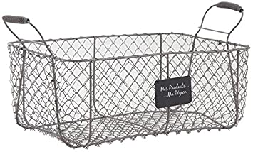 Wire Storage Basket Metal Crate Vintage French Farmhouse Style Vegetable  Storage