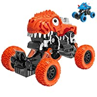 PBOX Dinosaur Monster Truck Toys,DIY Friction Powered Cars with 2 Dinosaur Case and 1 Carbody,Pull Back Vehicles Car Toys for Aged 3-12 Boys & Girls Kids Gift