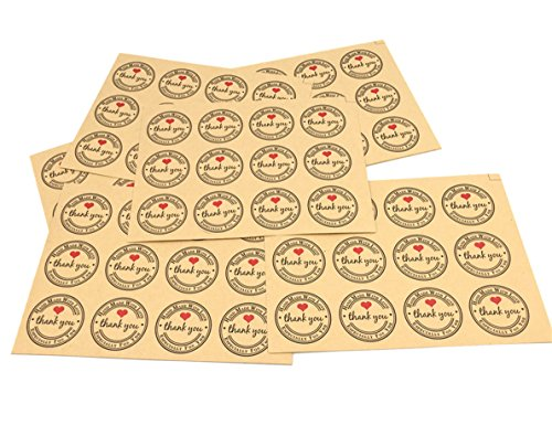 "Pack of 120 Decorative 1.37 ""Thank you"" with Red heart Adhesive Label Personalized Stickers Packaging Seals Crafts Handmade Baked Envelope Label St…"