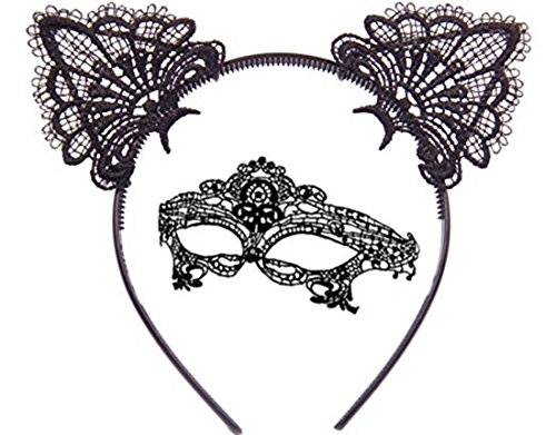 Fashion Cat Ears Headband Lace Eye Mask Costume Couples Cute Sexy Women Girl Lady Eyemask Masquerade Mask Hair Elastic Hoop for Carnival Party Prom Ball Halloween Christmas Cosplay (Black/Soft/Venetia