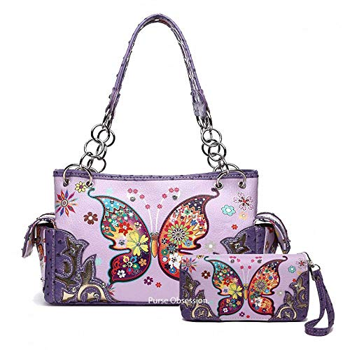 (Butterfly Flower Western Style Concealed Carry Spring Purse Country Handbag Women Shoulder Bag Wallet Set (Purple Set))