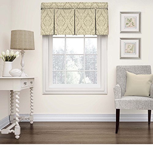 Single Piece Linen 52 Inches Wide x 18 Inches Long Window Valance, Specialty Type, Rod Pocket, Damask Pattern, Traditional Style, Donnington Valance, Box Pleat, Cotton Material, Cream, Light Gray