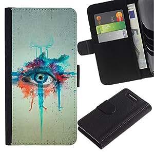 KingStore / Leather Etui en cuir / Sony Xperia Z1 Compact D5503 / Pintura de la acuarela Arte de ojos Azules Dibujo
