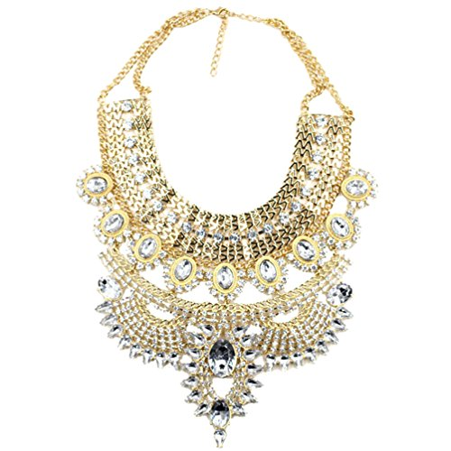 Sweetime Women's Luxurious Multilayers Geometric Flowers Rhinestone Alloy Necklace (White) (Bear Arms Costume)