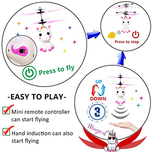 Unicorn Flying Ball RC Toy for Kid Girls,Inductive Flying Toys Drone Helicopter with Remote & Hand Controlled Rechargeable Flash Light Indoor Outdoor Light Up Toy Party Favors Supplies Gift for 3+ Boy by Randosk (Image #2)