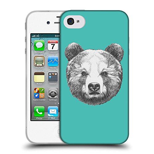 GoGoMobile Coque de Protection TPU Silicone Case pour // Q05350634 Ours portrait Turquoise // Apple iPhone 4 4S 4G