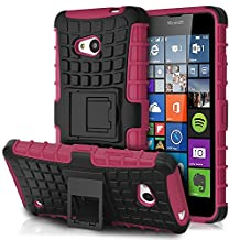 Fosmon Microsoft Lumia 640 (HYBO-RAGGED) Dual Layer Protection Heavy Duty Hybrid Case Cover with Built In Stand for Microsoft Lumia 640 - Fosmon Retail Packaging (Hot Pink)