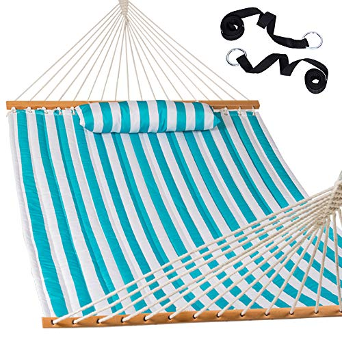 Lazy Daze Hammocks Quilted Fabric Double Size Spreader Bar Heavy Duty Stylish Hammock Swing Two Person with Pillow and Straps, Sailor Stripe