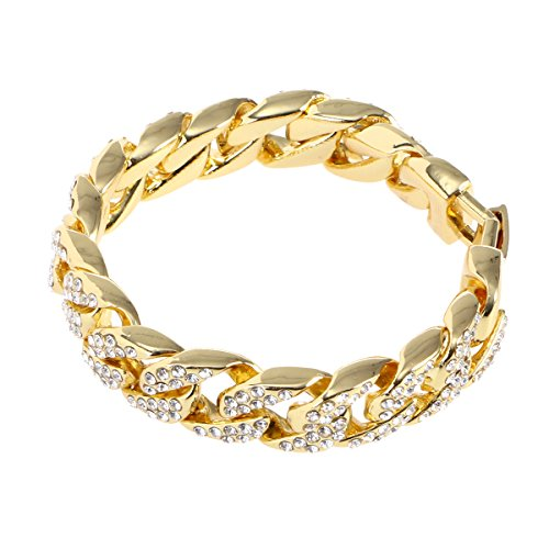 OULII Chic Mens Bracelet Hip Hop Jewelry Crystal Rhinestones Diamonds Cuban Gold Plated Link Chain Necklace 20 cm