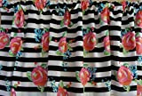 Cheap Valance Pink Flowers on Black and White Stripes Window Treatment Topper Custom Made