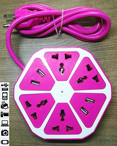 QOCOO Creative Fruit Shape Hexagon Home office Multi Sockets Power Strip 4 Outlet with 4 USB Adapter Pnone Charging Station for iPhone Samsung Tablet and Smartphone pink