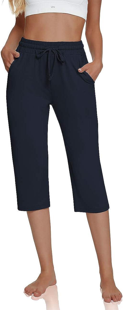 UEU Women's Comfy Drawstring Yoga Capri Pants Loose Workout Sweatpants Wide Leg Lounge Pants with Pockets: Clothing