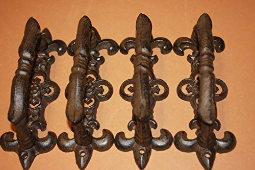 Fancy Fleur De Lis Door Handle Pulls, Set of 4 HW-26