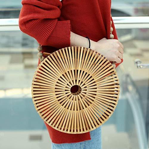 de mujeres fuera hacia el de del de ir ocasional sólido las color tejido hombro Delicacydex de compras bambú redondo crossbody ahueca Bolso para Bolso x6waqTFv