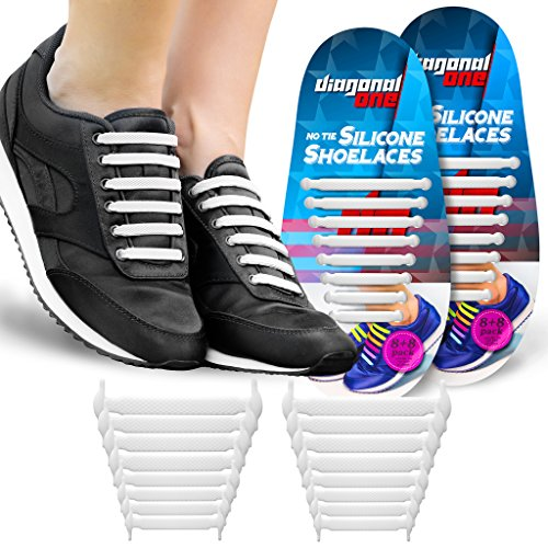 (Diagonal One No Tie Shoelaces for Kids & Adults. The Elastic Silicone Shoe Laces to Replace Your Shoe Strings. 16 Slip On Tieless Flat Silicon Sneakers Laces)