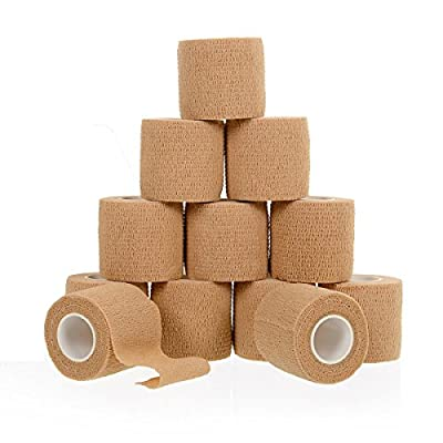 "12 Bulk Pack, 2"" x 5 Yards, Self-Adherent Cohesive Bandage Tape, Strong Sports Tape for Wrist, Ankle Sprains & Swelling, Self-Adhesive Bandage Rolls, FDA Approved, By California Basics"