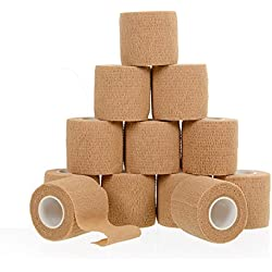 """12 Bulk Pack, 2"""" x 5 Yards, Self Adherent Wrap, Self Adhesive Tape, Cohesive Bandage Tape, Strong Elastic Sports Tape for Wrist, Stretch Athletic Tape for Ankle Sprains & Swelling"""