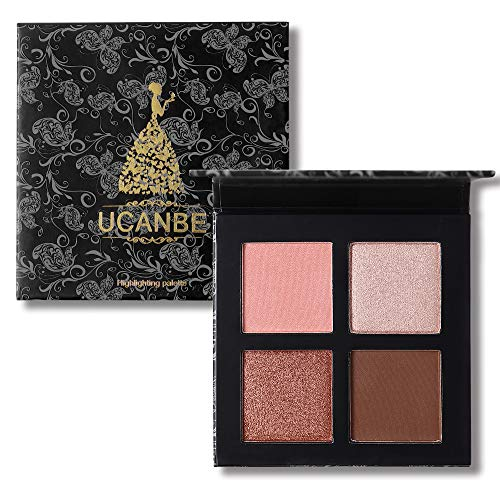 4 Colors Highlighter Makeup Palette Highlighting Illuminating Face Powder Contour Palette – Vegan, Cruelty Free (Square 2)