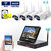 Wireless Security Camera System by Cromorc WIFI NVR Kit 4CH 1080P NVR 4pcs 960P Indoor Outdoor Bullet IP Cameras P2P IR Night Vision Waterproof Plug and Play with 10.1inches Monitor with 1TB HDD