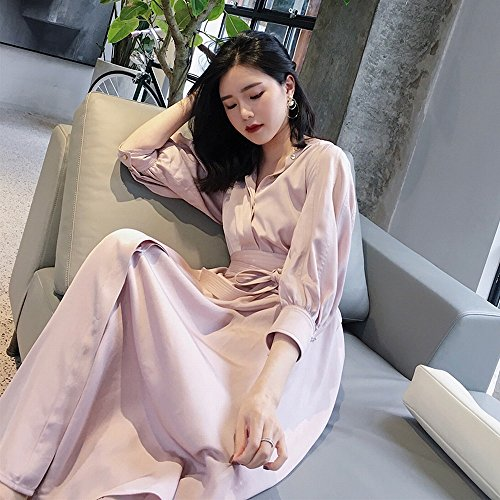 Women Girdle Dress Long Cropped Sleeve Temperamento Rosa Hyw Shirt 5qCwx0TnP