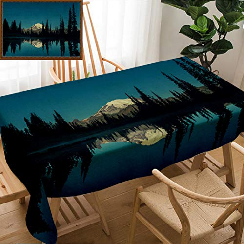 Unique Custom Design Cotton and Linen Blend Tablecloth National Parks Home Decor Mountain Night Mystic Hiking Climbing Calm Washington CountrysidTablecovers for Rectangle Tables, Small Size 48