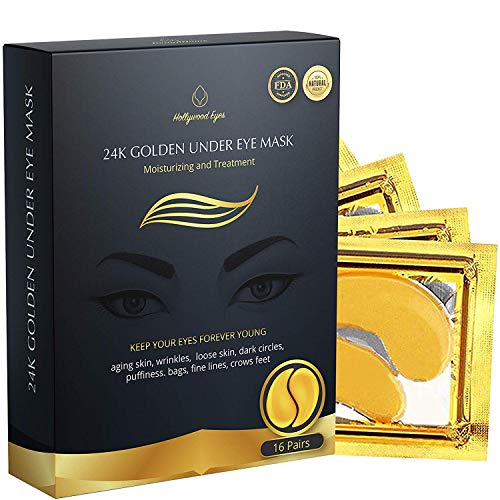 BrightJungle Under Eye Collagen Patch, 24K Gold Anti-Aging Mask, Pads for Puffy Eyes & Bags, Dark Circles and Wrinkles, with Hyaluronic Acid, Hydrogel, Deep Moisturizing Improves elasticity, 16 Pairs (Best Product For Under Eye Lines)