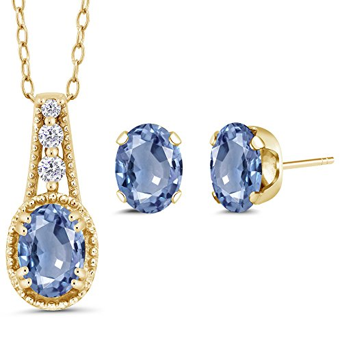 1.73 Ct Oval Blue Sapphire 14K Yellow Gold Pendant Earrings Set