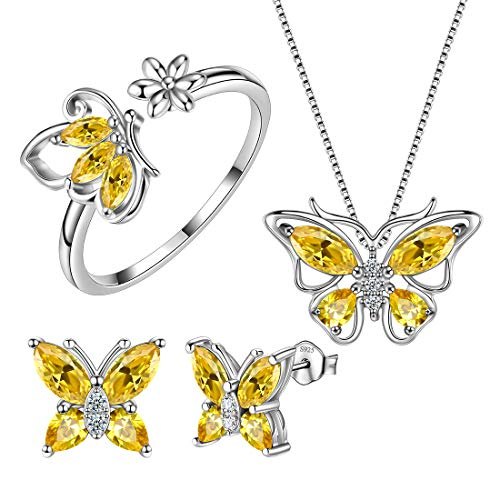 Aurora Tears Yellow Butterfly Jewelry Sets Women 925 Sterling Silver November-Citrine Birthstone Necklace/Earrings/Rings Butterflies Sets Girls Birth Stone Animal Jewellery Birthday Gift DS0046N