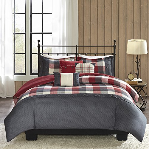 6 Piece Lodge Checkered Herringbone Motif Duvet Cover Set Full/Queen Size, Printed Geometric Plaid Patterned Bedding, Country Cabin Vacation House Holiday Themed, Geo Check Squares Tartan, Red, Black