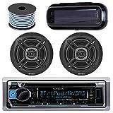 Kenwood Bluetooth Radio CD Receiver KMR-D365BT In-Dash Marine Boat Audio Bundle With Pair Of Enrock EKMR1672 6.5