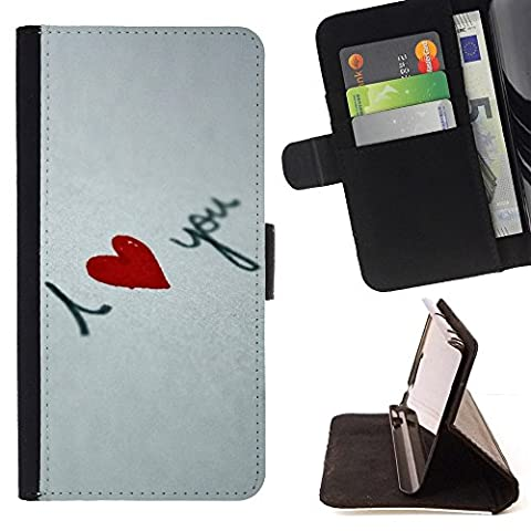For Samsung Galaxy Note 4 IV,S-type I love you Heart - Drawing PU Leather Wallet Style Pouch Protective Skin (I Pocket Covers For Samsung Note4)