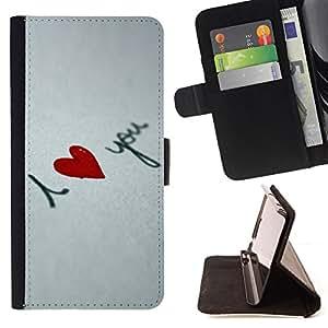 BullDog Case - FOR/Apple Iphone 4 / 4S / - / I love you Heart /- Monedero de cuero de la PU Llevar cubierta de la caja con el ID Credit Card Slots Flip funda de cuer