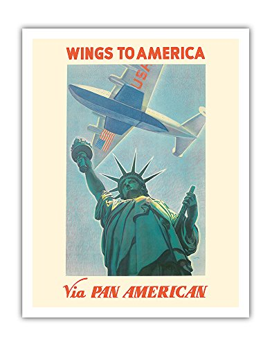 Pacifica Island Art Wings to America - Via Pan American Airways - Statue of Liberty, New York - Vintage Airline Travel Poster by Paul George Lawler c.1940 - Fine Art Print - 11in x 14in ()